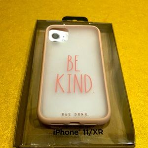 Rae Dunn iphone 11XR case white pink print BE KIND